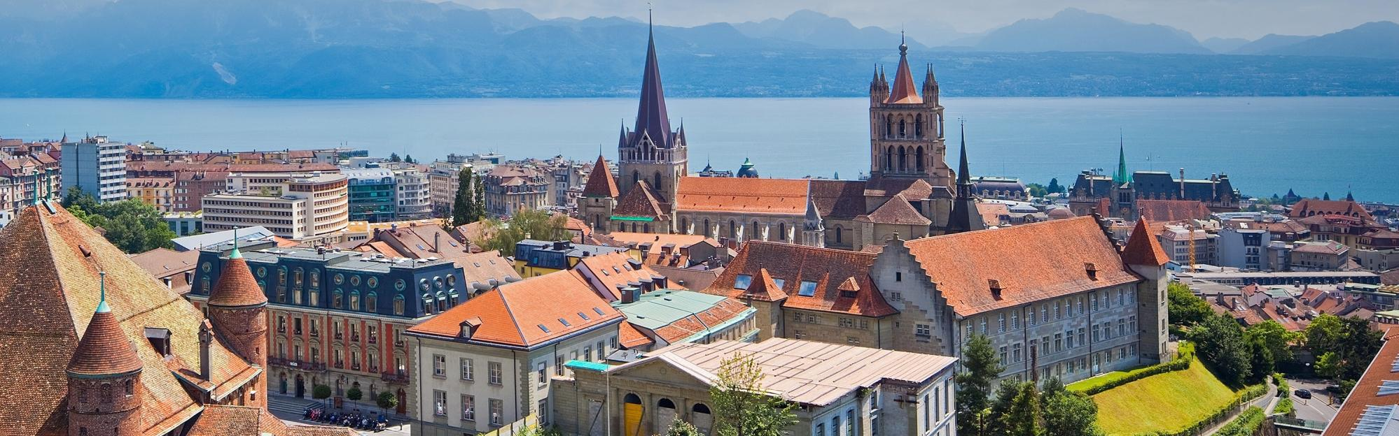 Lausanne cathedral and historic city