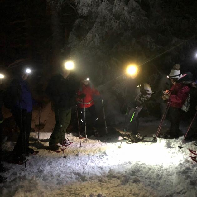 Night snowshoes and raclette in the forest