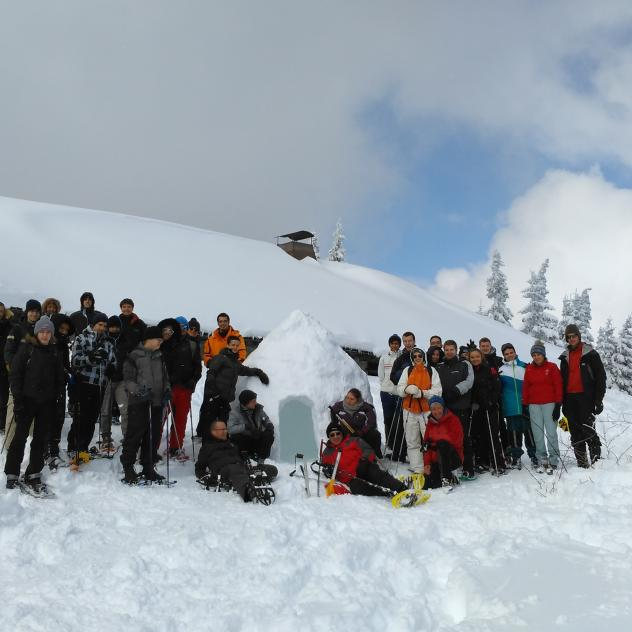Construction d'un igloo et fondue