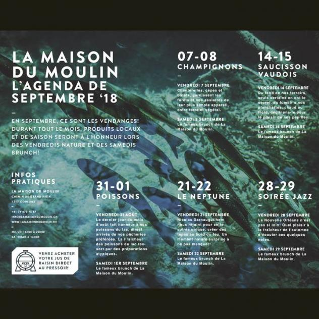 La Maison du Moulin - September 2018 agenda