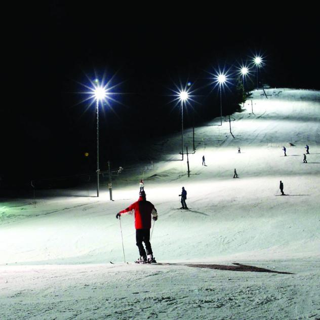 The ski lift / floodlit piste at Sainte-Croix
