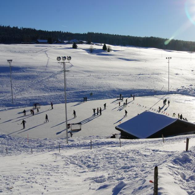 The open-air skating rink at L'Auberson