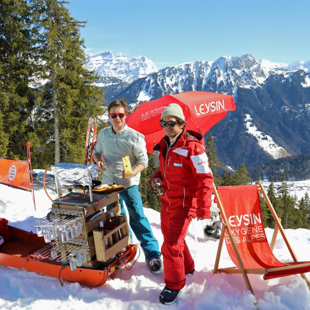 Raclette on the slopes of Leysin