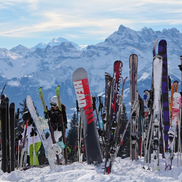 Skis with mountains - winter - Leysin
