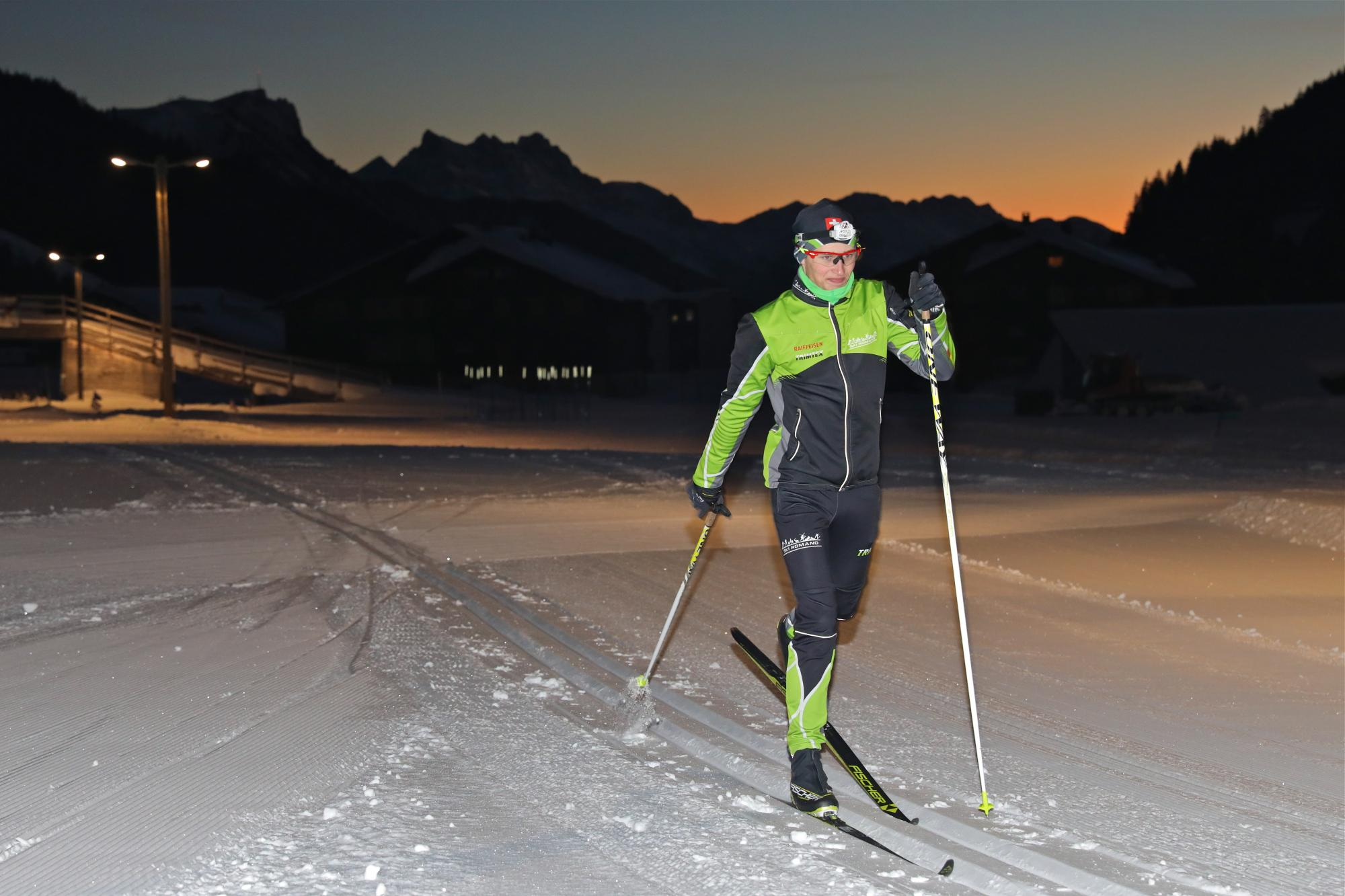 night-time cross-country skiing