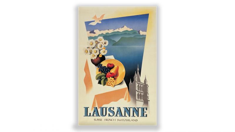 Vintage Swiss Travel Poster 1950s Lausanne French Switzerland Lake Geneva Retro Reproduction Antiques