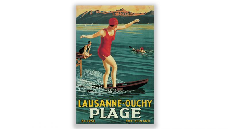 Vintage posters Lausanne-Ouchy beach - © Artiste: Geroges J. Flemwell