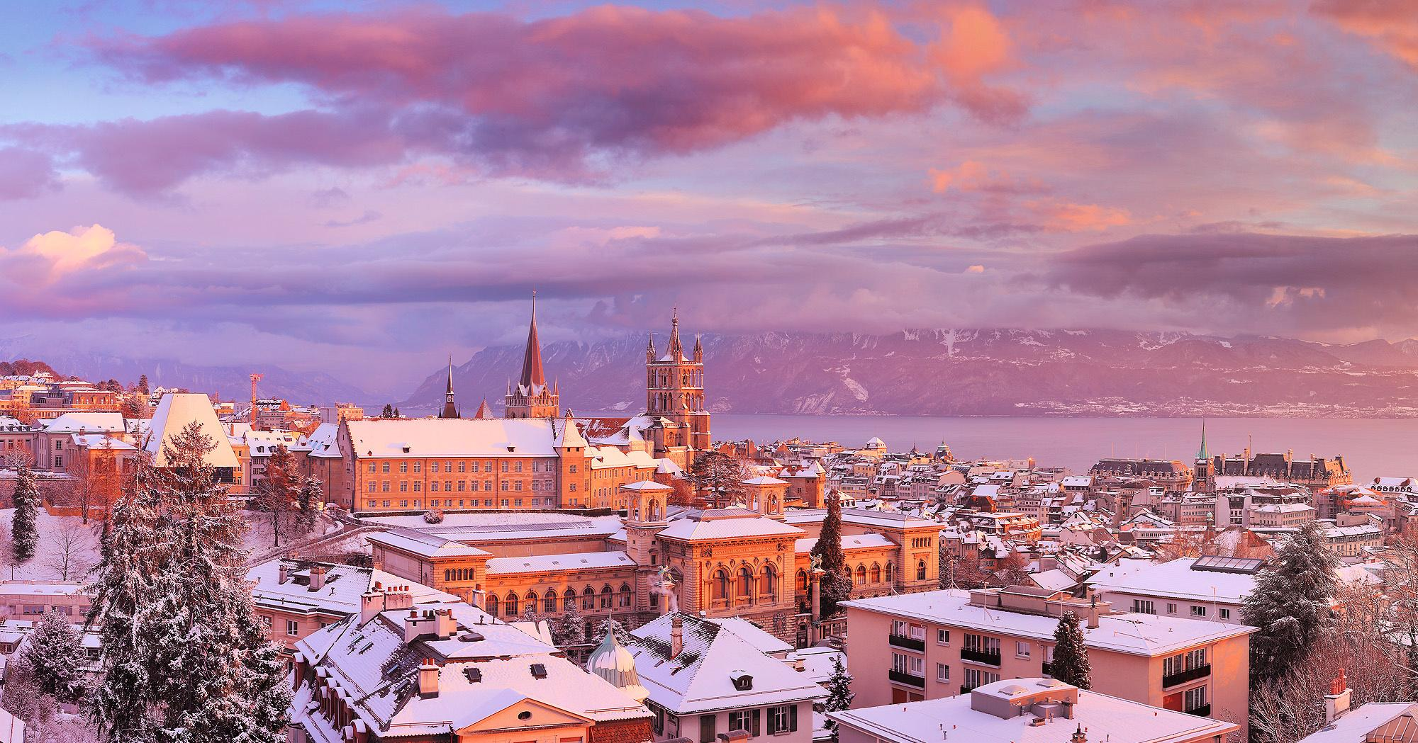 Lausanne Cathedral in winter