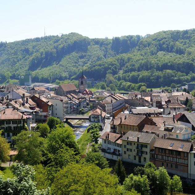 "Moudon, member of ""The Most Beautiful Villages in Switzerland"""