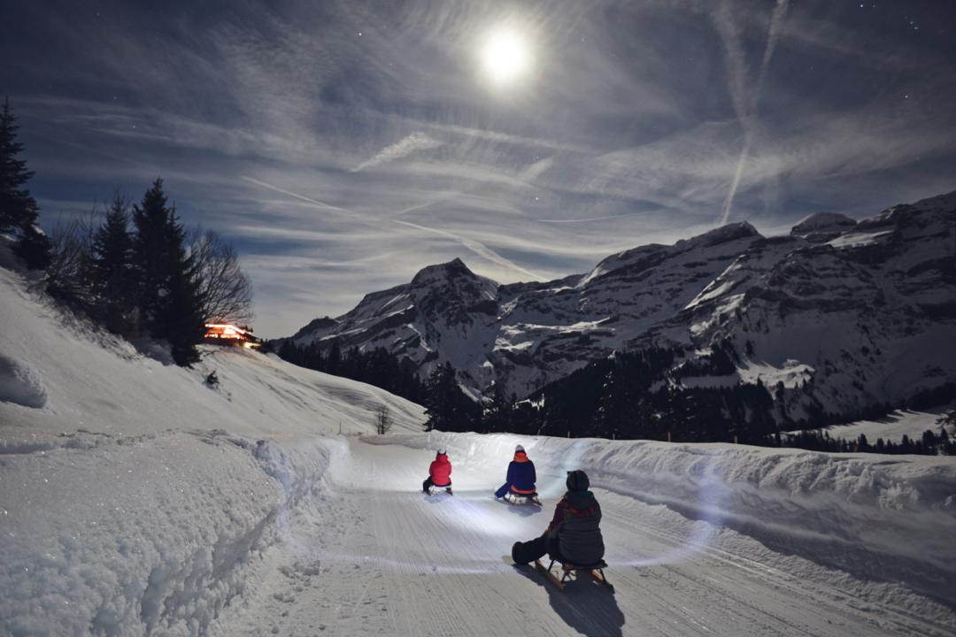 Night sledging in Les Diablerets